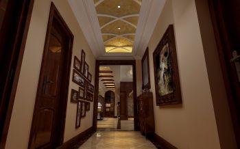 客厅黄色照片墙美式风格装饰设计图片
