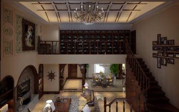 客厅咖啡色楼梯美式风格装饰效果图