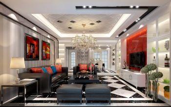 客厅红色背景墙现代简约风格装饰效果图