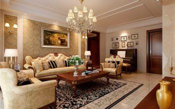 客厅黄色照片墙现代欧式风格效果图