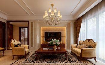 客厅黄色背景墙现代欧式风格装修效果图