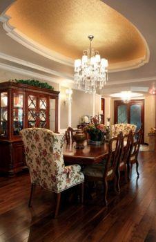 餐厅咖啡色餐桌田园风格装饰设计图片