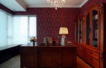 书房红色背景墙田园风格装潢设计图片