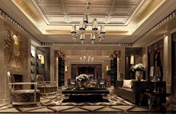 客厅黄色吊顶欧式风格装潢效果图