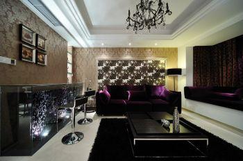 客厅黑色吧台现代简约风格装修设计图片