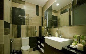 卫生间咖啡色梳妆台现代简约风格装潢效果图