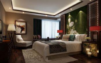 卧室绿色背景墙中式风格装饰设计图片