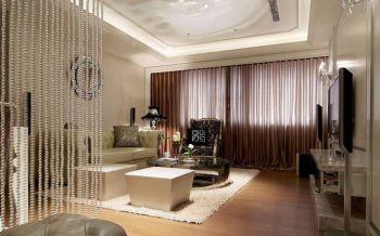 客厅咖啡色窗帘新古典风格效果图