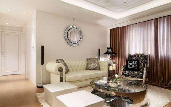 客厅咖啡色窗帘新古典风格装饰设计图片