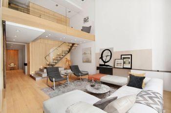 客厅白色背景墙现代简约风格装潢效果图
