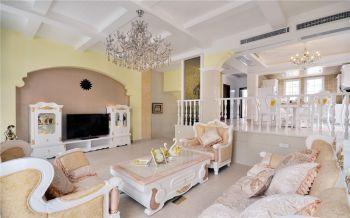 120平米颐和名苑简欧混搭风格别墅黄色装修效果图