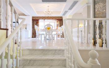 餐厅白色楼梯简欧风格装潢图片