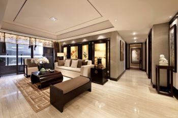 客厅黄色背景墙现代中式风格装饰设计图片