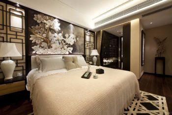 卧室白色背景墙现代中式风格效果图