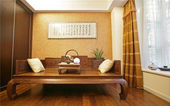 客厅黄色背景墙中式风格装修效果图