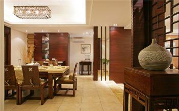 餐厅黄色走廊中式风格装潢效果图
