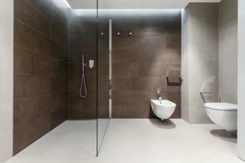 卫生间咖啡色背景墙现代简约风格装潢图片