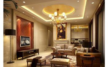 绵阳城市人家120平米黄色大户型现代美式风格四居室效果图