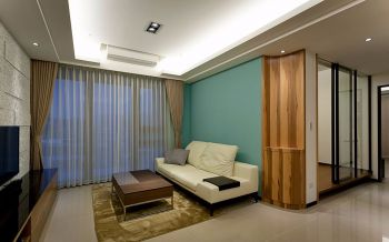 客厅绿色背景墙简约风格装饰设计图片