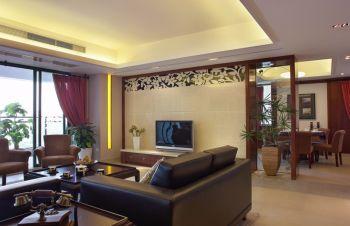 客厅黄色背景墙现代风格装潢效果图