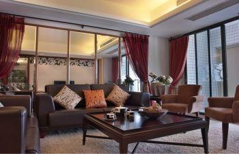 客厅红色窗帘现代风格装修图片