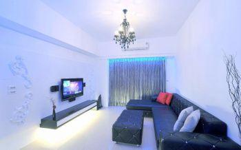客厅白色背景墙简单风格装修设计图片
