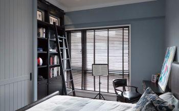卧室蓝色背景墙美式风格装潢图片