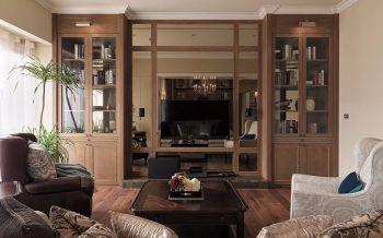 客厅咖啡色书架美式风格装饰设计图片