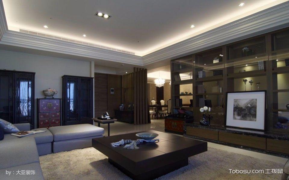 客厅咖啡色博古架混搭风格装修设计图片