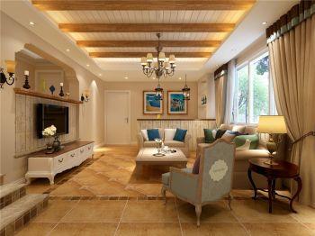 阳光金域地中海田园风格三居室装修效果图