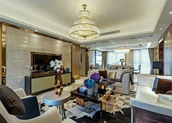 本案以色彩来诠释时尚现代摩登风格,知性稳重的棕色调、镜面金属材质的手边、局部配中式元素, 勾勒了华丽的视觉效果,让人感受到中西合璧的现代艺术,现代而摩登,雅致而内蕴。简洁的线条与规整 的家具相互衬托,将古典主义风情融入于现代生活,弥漫着强烈的理性色彩和人文关怀。 客厅:中性的色调搭配上鲜艳的配饰和花艺,整个空间简洁明了,干净的线条 和几何图形的多次出现彰显出智慧,现代而深沉。以色彩变幻来区分功能空间,巧妙而 富有韵味。书房:木质多功能书柜组合在在书房里尽情展现,以国际流行的构图手法将中国传统元素融入 室内设计,融现代的律动与中式的沉稳为一体,时尚感十足。