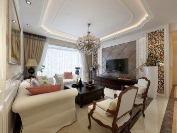 现代欧式风格简奢三居室案例效果图