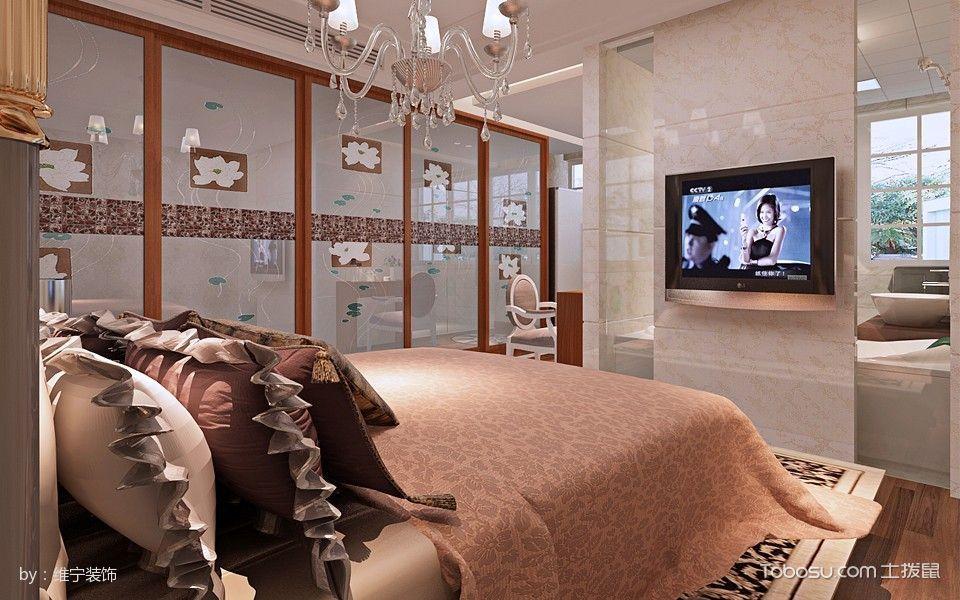 卧室白色灯具美式风格装饰图片