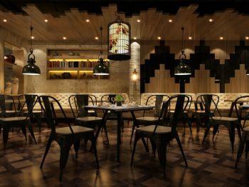 时尚复古餐馆装修效果图
