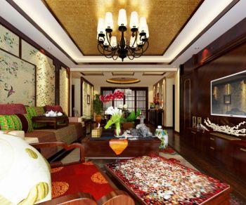 中式风彩色大户型家装效果图案例