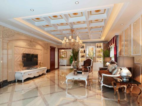 富贵园简欧风格双方案客厅设计