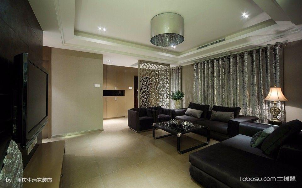 客厅灰色隔断新古典风格装潢效果图