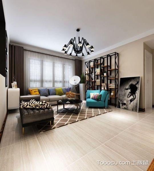 客厅黑色博古架混搭风格装潢效果图