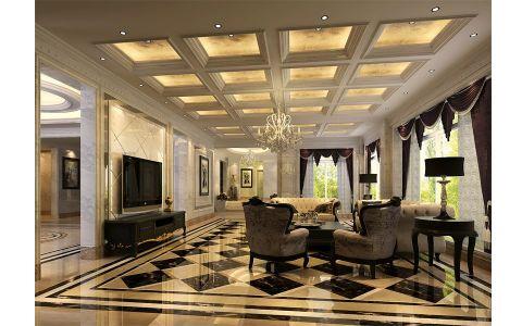 浪漫尊贵的简欧风格大别墅装修效果图