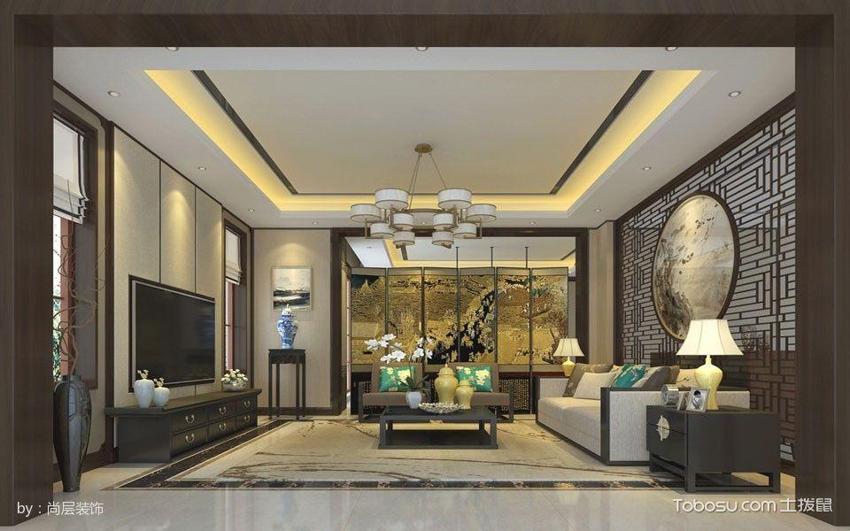 客厅吊顶新中式风格装饰图片_土拨鼠装修效果图图片