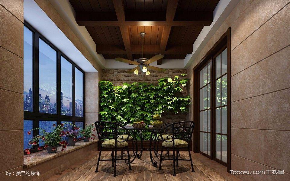 阳台咖啡色吊顶混搭风格装潢图片