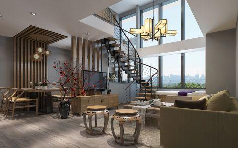 天宇假日公寓新中式风跃层装修案例