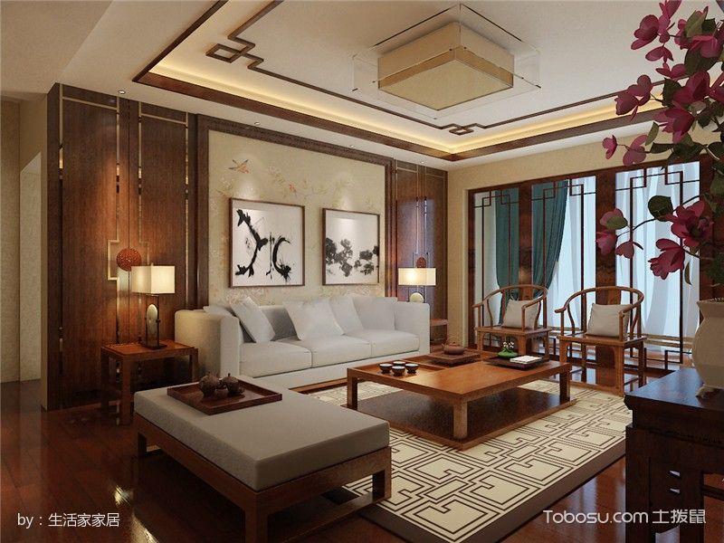 中洲阳光中式风格大户型装修效果图