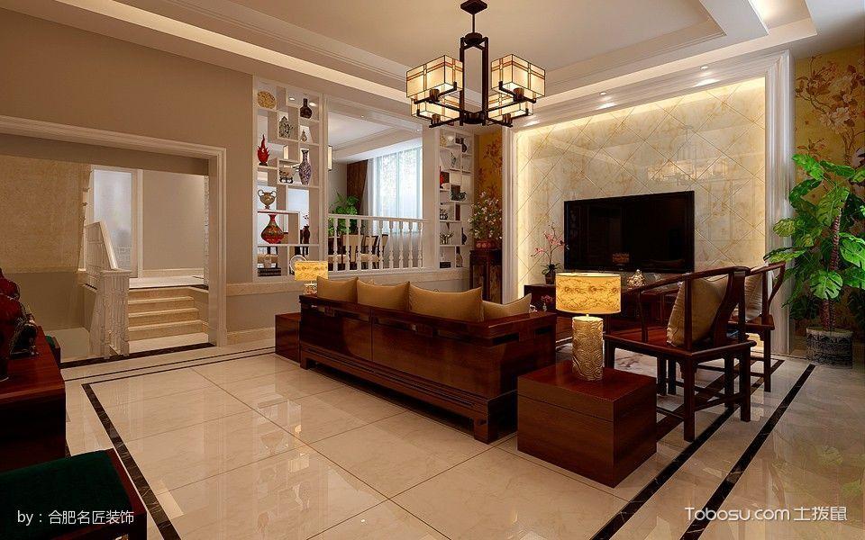 客厅白色博古架新中式风格装修图片