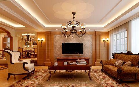 大溪地三室两厅户型美式风格装修效果图