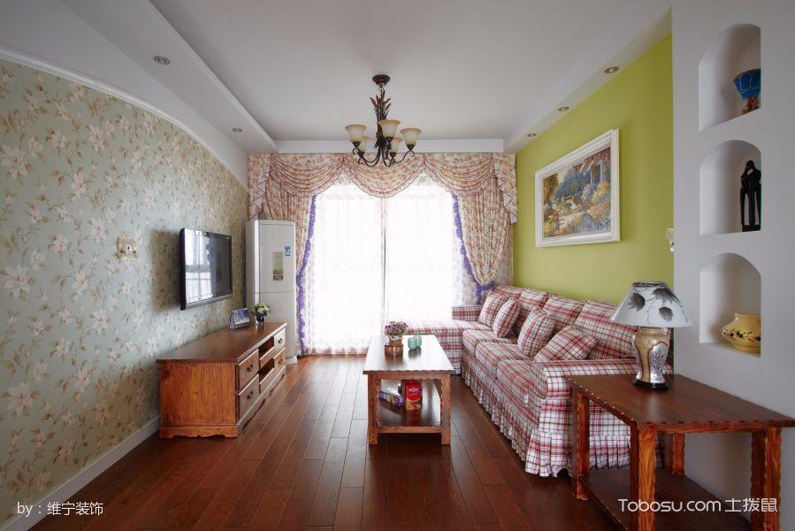 客厅咖啡色电视柜田园风格装饰图片