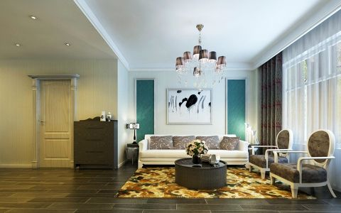 简欧设计大气两居室效果图