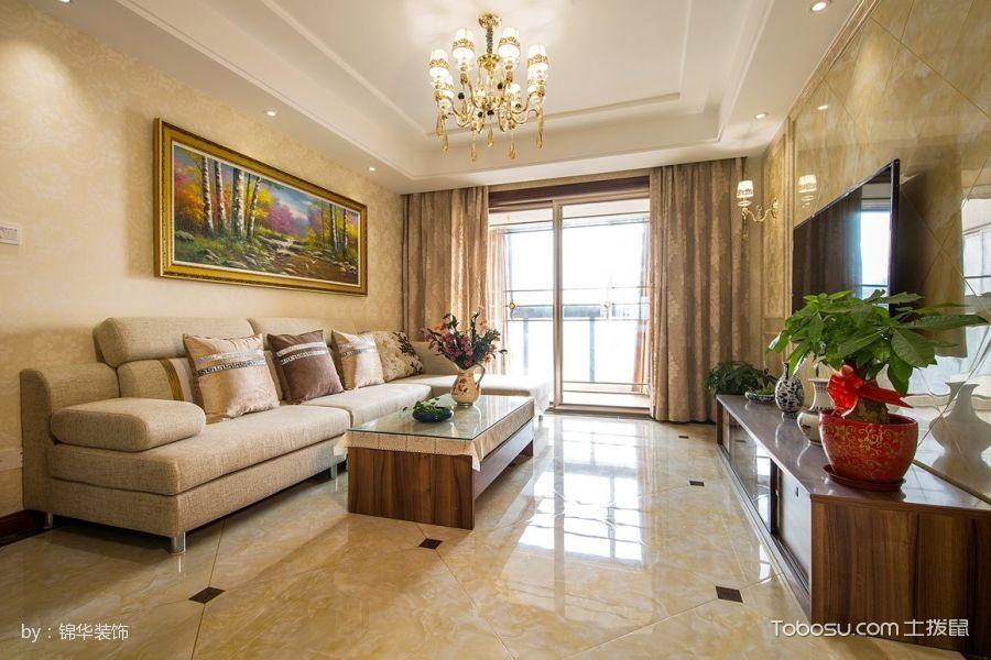 客厅黄色简单风格装修设计图片