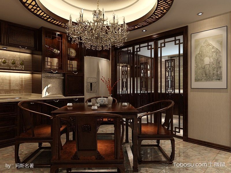 2019中式古典餐厅效果图 2019中式古典推拉门装修效果图大全