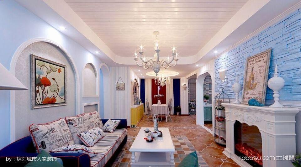 地中海三居室装修案例图